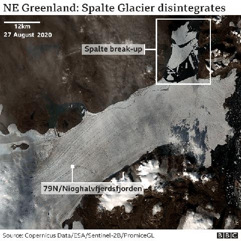 У Гренландії відколовся величезний шматок льоду